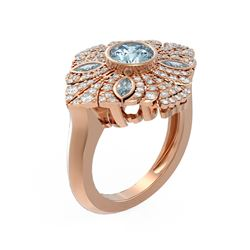 2.32 ctw Aquamarine & Diamond Ring 18K Rose Gold