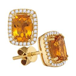 14kt White Gold Cushion Citrine Solitaire Diamond Frame Earrings 1.00 Cttw