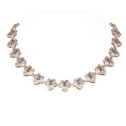 25.15 ctw Tanzanite & Diamond Necklace 18K Rose Gold