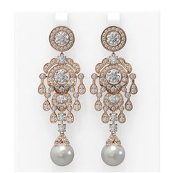 9.4 ctw Diamond and Pearl Earrings 18K Rose Gold