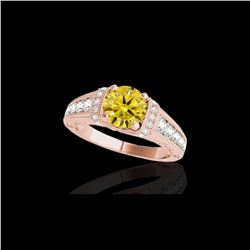 1.75 ctw Certified SI Intense Yellow Diamond Antique Ring 10K Rose Gold