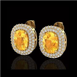 6 ctw Citrine & Micro Pave VS/SI Diamond Earrings 14K Yellow Gold