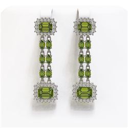 11.38 ctw Tourmaline & Diamond Earrings 14K White Gold