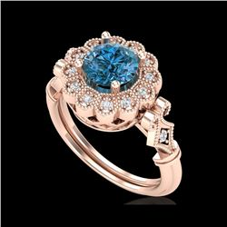 1.2 ctw Intense Blue Diamond Engagement Art Deco Ring 18K Rose Gold
