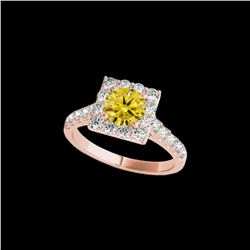 2.5 ctw Certified SI/I Fancy Intense Yellow Diamond Ring 10K Rose Gold