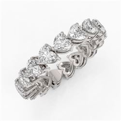 4.42 ctw Heart Diamond Designer Eternity Ring 18K White Gold