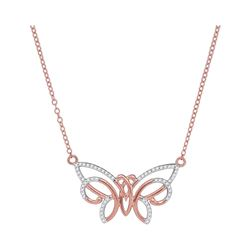 10kt Rose Gold Round Diamond Butterfly Bug Pendant Necklace 1/5 Cttw