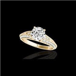 1.58 ctw Certified Diamond Solitaire Antique Ring 10K Yellow Gold