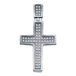 10kt White Gold Mens Round Diamond Small Cross Charm Pendant 1/6 Cttw