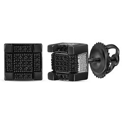 Sterling Silver Mens Round Black Color Enhanced Diamond 3D Square Stud Earrings 1/6 Cttw