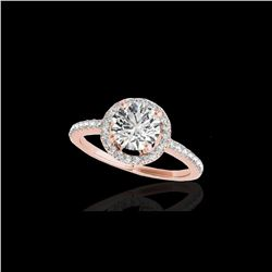 1.4 ctw Certified Diamond Solitaire Halo Ring 10K Rose Gold