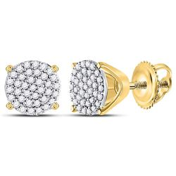 10kt Yellow Gold Round Diamond Circle Cluster Stud Earrings 1/4 Cttw