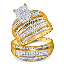10kt Yellow Gold His & Hers Round Diamond Rectangle Cluster Matching Bridal Wedding Ring Band Set 3/