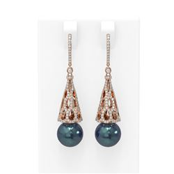 3 ctw Diamond and Pearl Earrings 18K Rose Gold