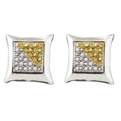 Sterling Silver Mens Round Yellow Color Enhanced Diamond Square Kite Cluster Earrings 1/8 Cttw