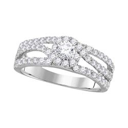 14kt White Gold Round Diamond Solitaire Open Bridal Wedding Engagement Ring 1.00 Cttw