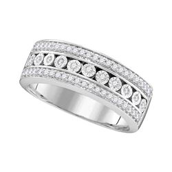 10kt White Gold Round Diamond Triple Row Channel Band Ring 1/3 Cttw