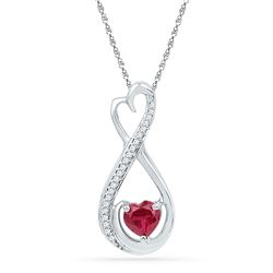 Sterling Silver Heart Lab-Created Ruby Solitaire Diamond Infinity Heart Pendant 5/8 Cttw
