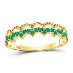 10kt Yellow Gold Round Emerald Scalloped Stackable Band Ring 1/4 Cttw
