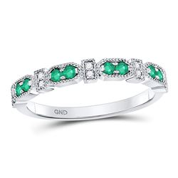 10kt White Gold Round Emerald Diamond Stackable Band Ring 1/4 Cttw