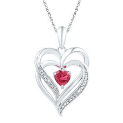 Sterling Silver Round Lab-Created Ruby & Diamond Heart Pendant .01 Cttw