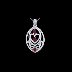3.50 ctw Ruby & Micro Pave Diamond Heart Necklace 18K White Gold
