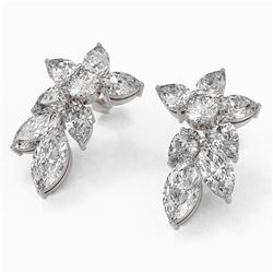 9.42 ctw Pear and Marquise Cut Diamond Earrings 18K White Gold