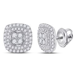14kt White Gold Round Diamond Cushion Cluster Earrings 1/2 Cttw