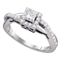 14kt White Gold Princess Diamond Solitaire Bridal Wedding Engagement Ring 1/2 Cttw