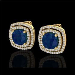 4.95 ctw Sapphire & Micro Pave VS/SI Diamond Earrings 18K Yellow Gold