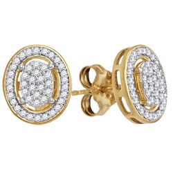 10kt Yellow Gold Round Diamond Oval Framed Cluster Screwback Earrings 1/4 Cttw
