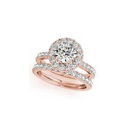 2.04 ctw Certified VS/SI Diamond 2pc Wedding Set Halo 14K Rose Gold