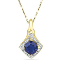 10kt Yellow Gold Round Lab-Created Blue Sapphire Solitaire Pendant 1-5/8 Cttw
