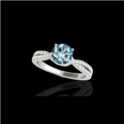 1.3 ctw SI Certified Fancy Blue Diamond Solitaire Ring 10K White Gold