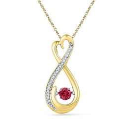 10kt Yellow Gold Round Lab-Created Ruby Moving Twinkle Solitaire Infinity Pendant 1/3 Cttw