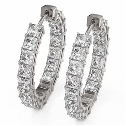 8.84 ctw Princess Cut Diamond Earrings 18K White Gold