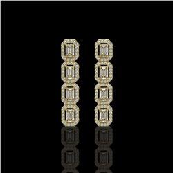 3.84 ctw Emerald Cut Diamond Micro Pave Earrings 18K Yellow Gold