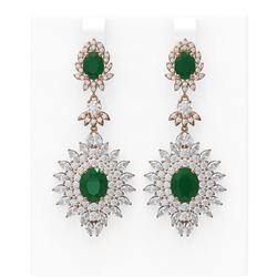 21.25 ctw Emerald & Diamond Earrings 18K Rose Gold