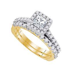 14kt Yellow Gold Princess Diamond Bridal Wedding Engagement Ring Band Set 1-1/4 Cttw