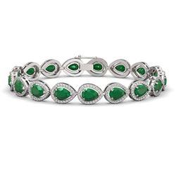 21.69 ctw Emerald & Diamond Micro Pave Halo Bracelet 10K White Gold