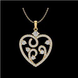 1.15 ctw Micro Pave VS/SI Diamond Designer Necklace 14K Yellow Gold