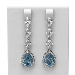 7.62 ctw Blue Topaz & Diamond Earrings 18K White Gold