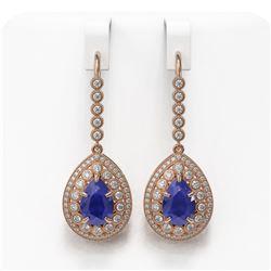 10.15 ctw Sapphire & Diamond Victorian Earrings 14K Rose Gold