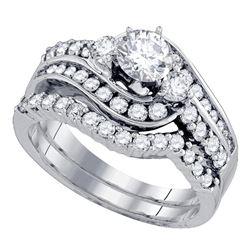 14kt White Gold Round Diamond Bridal Wedding Engagement Ring Band Set 1-1/2 Cttw