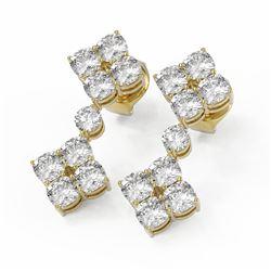 4.58 ctw Cushion Cut Diamond Designer Earrings 18K Yellow Gold