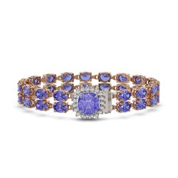 30.43 ctw Tanzanite & Diamond Bracelet 14K Rose Gold