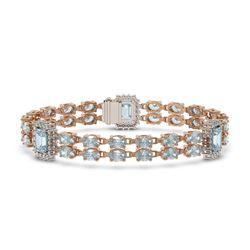 22.9 ctw Aquamarine & Diamond Bracelet 14K Rose Gold