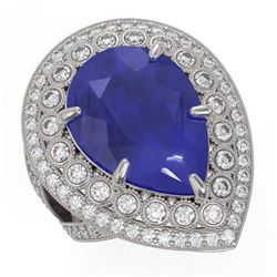 16.29 ctw Certified Sapphire & Diamond Victorian Ring 14K White Gold