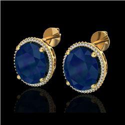 25 ctw Sapphire & Micro Pave VS/SI Diamond Earrings 18K Yellow Gold