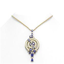 11.47 ctw Sapphire & Diamond Necklace 18K Yellow Gold